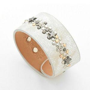 Star Crystal Leather Cuff Snap Bracelet Silver OS